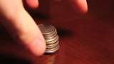 Stacks Of Coins stock footage