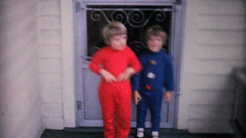Cute Sisters Showing Off New Fall Outfits 1961 Stock Video Footage