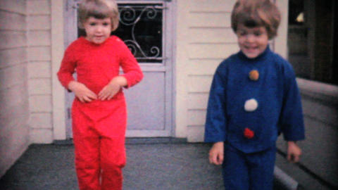 Cute Sisters Showing Off New Fall Outfits 1961 stock footage