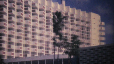 Florida Ocean Beach And Hotel 1961 Vintage 8mm stock footage