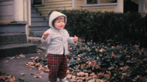 Little Girl Learning To Walk Takes A Tumble 1961 Stock Video Footage