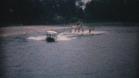 Water Skiers Perform Pyramid Stunt 1961 Vintage Stock Video Footage