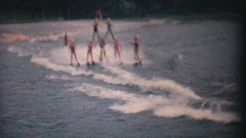 Water Skiers Perform Pyramid Stunt 1961 Vintage Footage