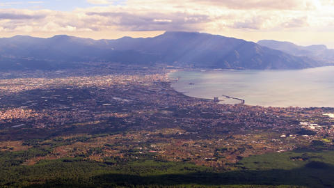 Pompei Valley, view from Mount Vesuvius. Italy. 4K Footage