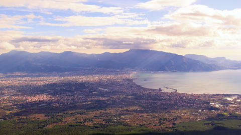 Pompei Valley, view from Mount Vesuvius. Italy. 4K Footage