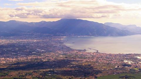 Pompei Valley, view from Mount Vesuvius. Italy. 4K Stock Video Footage
