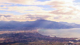 Pompei Valley, view from Mount Vesuvius. Italy. 4K Stock Video Footage