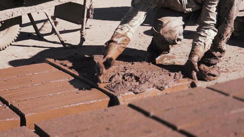 Adobe Brick Making Close Stock Video Footage