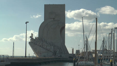 monument to the discoveries in Belem Lisbon Stock Video Footage