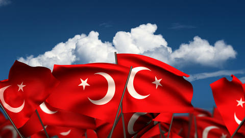 Waving Turkish Flags Stock Video Footage