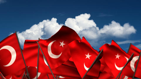 Waving Turkish Flags Animation