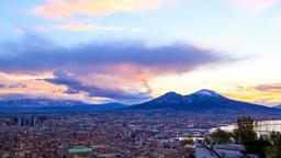 Mount Vesuvius. Dawn over Naples. Time Lapse Stock Video Footage