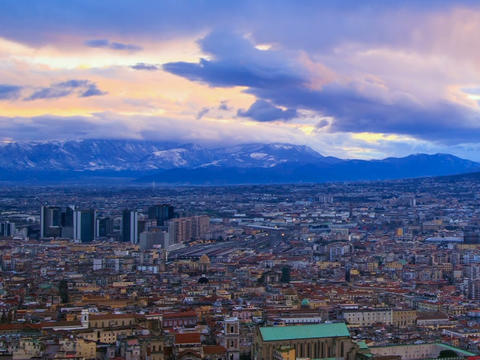 Dawn over Naples. Time Lapse Footage