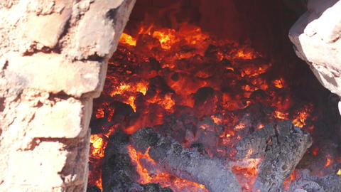 Adobe Brick Oven Inside Dolly Stock Video Footage