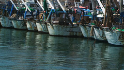 Old Rusty Boats In Haven stock footage