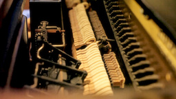 Piano inner mechanism long shot Stock Video Footage