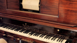 Piano vintage automatic ghost play editorial Footage