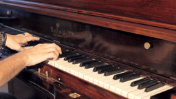 Piano vintage male hands playing editorial Stock Video Footage