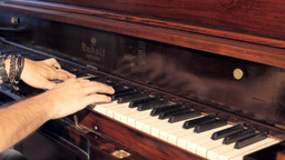 Piano vintage male hands playing editorial Footage