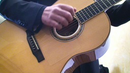 Playing classical guitar Stock Video Footage
