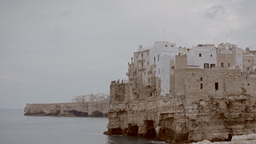 Polignano medieval city on a cliff by the sea 2 Stock Video Footage