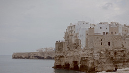 Polignano medieval city on a cliff by the sea 2 Footage