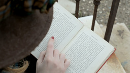 Romantic girl reading a poetry book Stock Video Footage