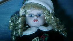Scary doll zoom in Stock Video Footage