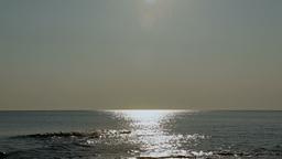 Sea horizon sun reflections relaxing long scene Stock Video Footage