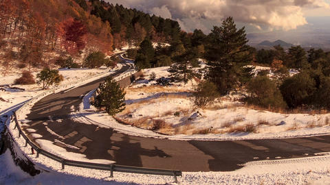 Winding road from the mountain. Sicily, Italy. Tim Stock Video Footage