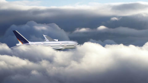 Airplane flying through clouds Stock Video Footage