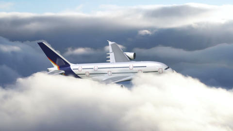 Airplane Flying Through Clouds stock footage