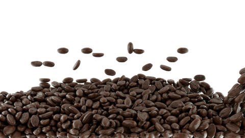 Roasted Coffee beans mixing with slow motion. Alph Animation