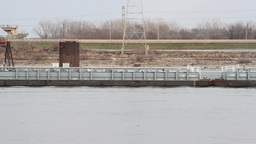 A Barge On A River stock footage