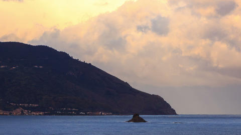 Cape. Coast of Sicily. Italy, Time Lapse Footage