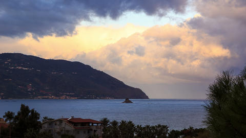 Cape. Coast of Sicily. Italy, Time Lapse. 4K Stock Video Footage