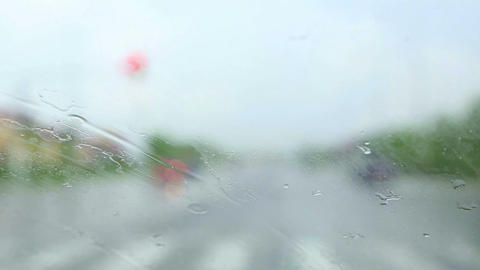 Driving in the rain Stock Video Footage