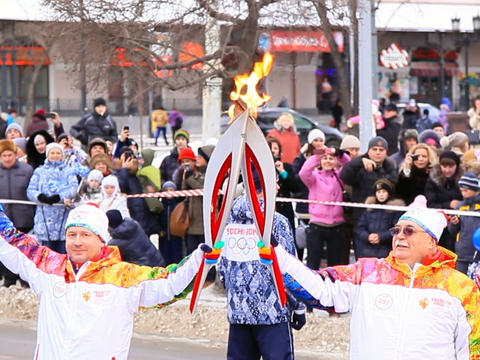Olympic flame in Yekaterinburg Stock Video Footage