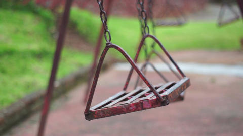 Old Deserted Park Swings Stock Video Footage