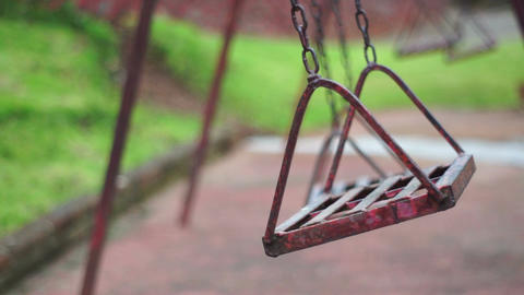 Old Deserted Park Swings stock footage