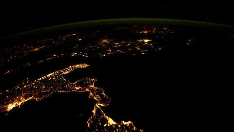 4 K Northern Africa South Italy Balcan by Night Footage