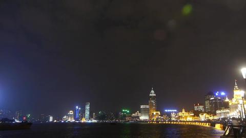 Shanghai Bund at night,huangpu river waterfront Stock Video Footage