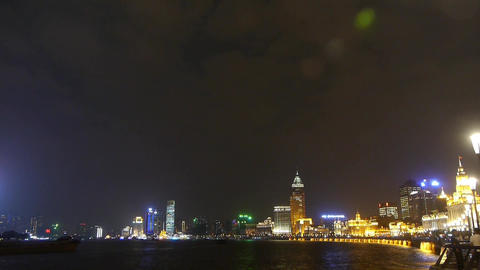 Shanghai Bund at night,huangpu river waterfront Animation