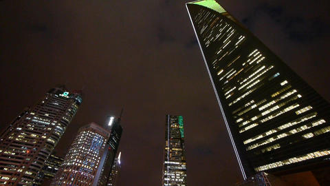 urban building,shanghai pudong economic center landmarks at night Animation