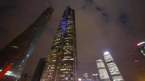 modern urban skyscrapers,shanghai pudong economic center landmarks at night CG動画