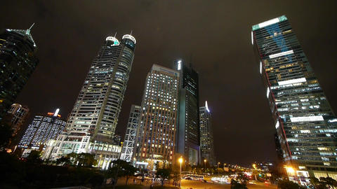 shanghai pudong traffic at night,Brightly lit building Stock Video Footage