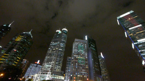 urban skyscraper at night,shanghai pudong business center Stock Video Footage