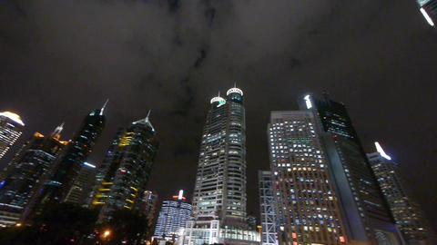 urban skyscraper at night,shanghai pudong business center Animation