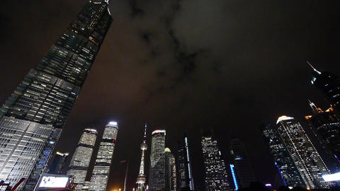 urban skyscraper at night,shanghai pudong business center landmark Animation