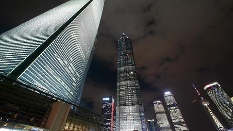 time lapse,cloud flying shanghai huanqiu skyscraper &... Stock Video Footage